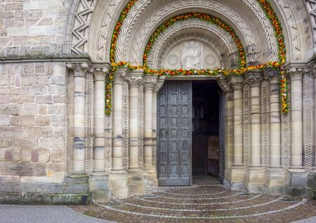 entrance of Saint-Maurices Basilica in Epinal, the capital city of the Vosges departmend in France