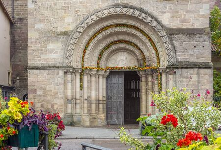 entrance of the Saint-Maurices Basilica in Epinal, the capital city of the Vosges departmend in France