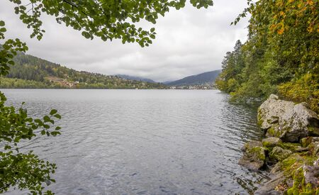 waterside scenery around Gerardmer in France, a commune in the Vosges department in Grand Est in northeastern France