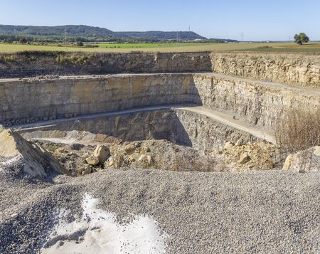landscape around a stone pit with roads in Southern Germany