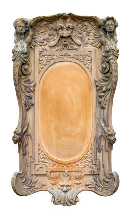 historic ornamented stone relief isolated in white back