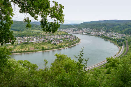 aerial view showing the Rhine Gorge near Boppard and Filsen in Rhineland-Palatinate, Germany