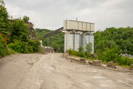 gravel mill scenery at summer time Stock Photo