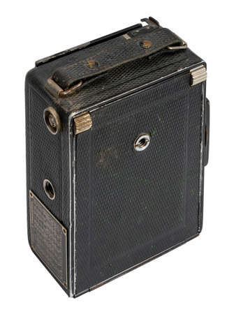 closed historic folding camera isolated in white back