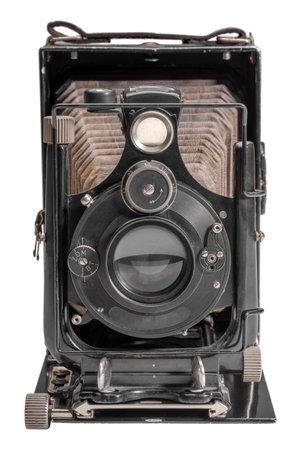 historic folding camera isolated in white back