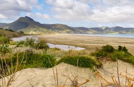 Scenery around the Ninety Mile Beach at the western coast of the North Island of New Zealand