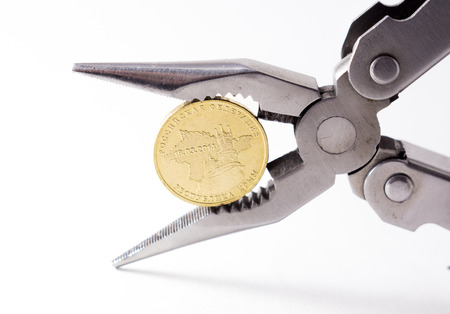 roubles: russian rouble in a pliers