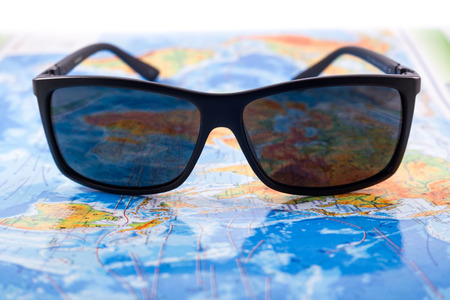 earth map: Sunglasses and map