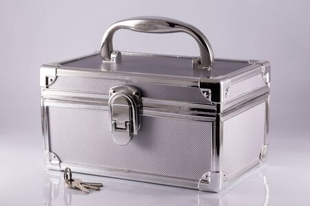 silvery: Silvery suitcase-box with keys Stock Photo