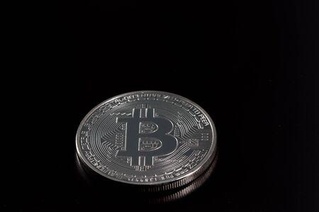 bitcoin on black backround Stock Photo