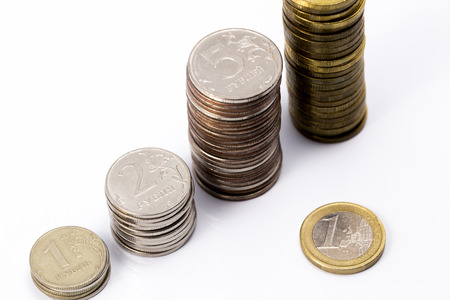 rubles: euro and russian rubles pile