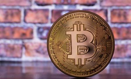 bitcoin on brick wall