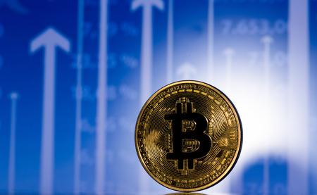 e cash: golden bitcoin on diagram