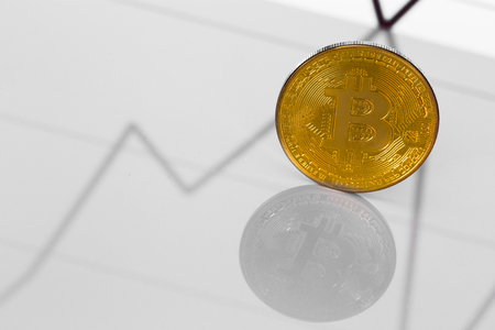 bitcoin on chart Stock Photo