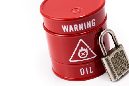 red barrel of oil with lock Stock Photo