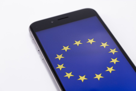 yes or no to euro: Brand black Phone and European Union on the screen.