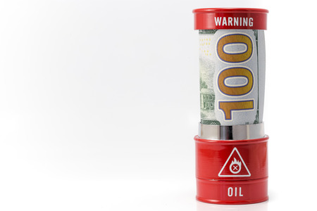 brent crude: barrel oil and dollar Stock Photo