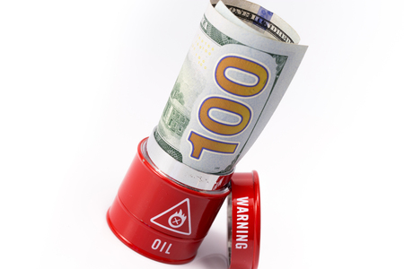barrel oil with dollar Stock Photo