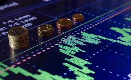 stock chart: stock exchange chart with money