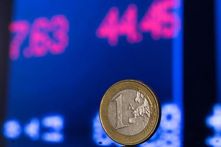 stock exchange chart and one euro Stock Photo
