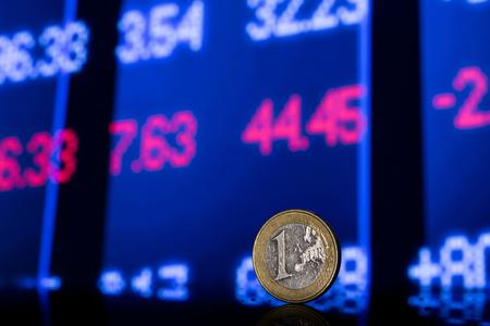 stock chart: stock exchange chart with euro Stock Photo