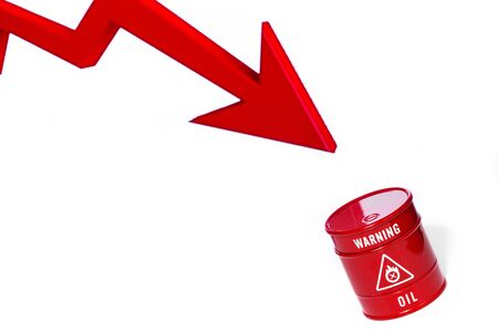 red barrel of oil on red chart