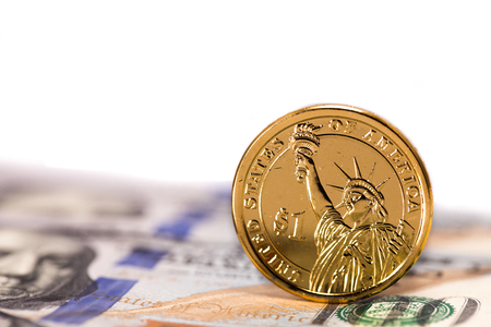 presidential dollar and statue of liberty Stock Photo