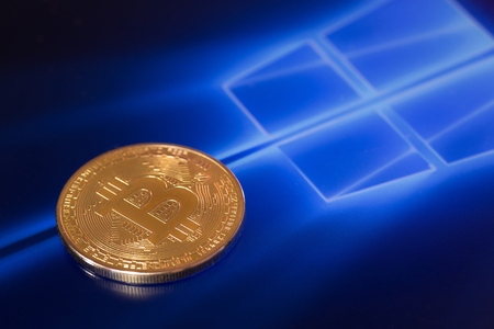 incursion: bitcoin and windows background. Windows is a operating systems developed, marketed, and sold by Microsoft. Ufa, Russia - May 16, 2017 Editorial