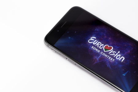 Apple iPhone 6s and Eurovision logo on display. Eurovision is international musical festival. Ekaterinburg, Russia - April 5, 2017