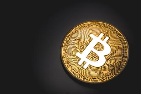 Gouden bitcoin logo gloeit in lichten Stockfoto - 82634969