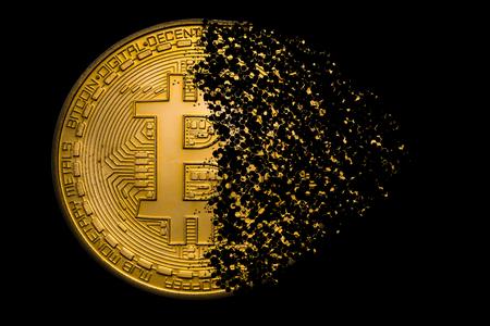 esplosione di bitcoin dorato Archivio Fotografico