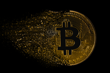 active bitcoin with particles