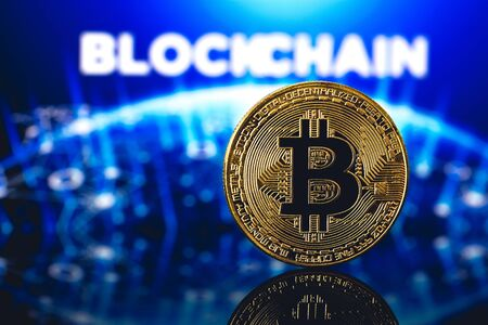 bitcoin and blockchain word in background