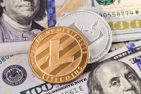 litecoin cryptocurrency and dollars Banco de Imagens