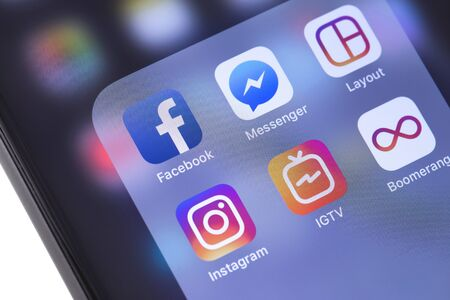 Facebook, Instagram, IGTV, Layout, Boomerang apps icons on the screen smartphone. Instagram - free application for sharing photos and videos. Moscow, Russia - October 14, 2018