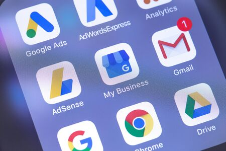 Google services apps icons on the screen smartphone. Google is the biggest Internet search engine in the world. Moscow, Russia - October 14, 2018