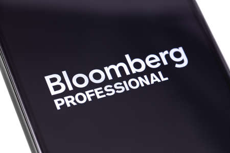 Bloomberg Professional logo on the screen smartphone. Bloomberg L.P. is a privately held financial software, data and media company. Moscow, Russia - March 1, 2019