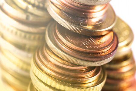 closeup money, rows of metal coins