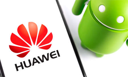smartphone with Huawei logo and Android figure. Huawei Technologies Co. Ltd. is Chinese multinational telecommunications equipment, consumer electronics manufacturer, headquartered. Moscow, Russia - May 20, 2019