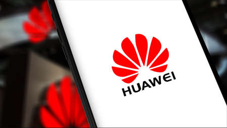 smartphone with Huawei logo. Huawei Technologies Co. Ltd. is Chinese multinational telecommunications equipment, consumer electronics manufacturer, headquartered. Moscow, Russia - May 20, 2019