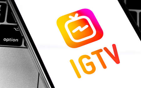 IGTV logo on the screen smartphone closeup. IGTV is a separate video application from Instagram for smartphones on Android and iOS. Moscow, Russia - December 12, 2019