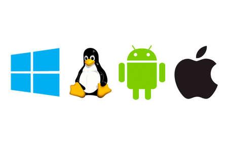 ensemble de symboles du système d'exploitation Microsoft, Linux, Android, Apple, imprimés sur du papier blanc. Moscou, Russie - 23 mars 2019