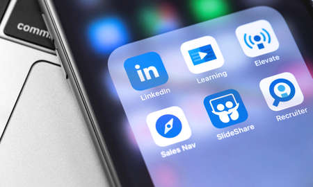 LinkedIn icons apps on the screen smartphone. LinkedIn is a social network for finding and establishing business contacts. Moscow, Russia - September 24, 2019