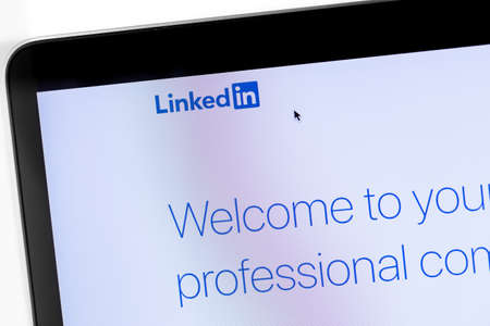 LinkedIn webpage on the display notebook closeup. LinkedIn is a social network for finding and establishing business contacts. Moscow, Russia - September 29, 2019