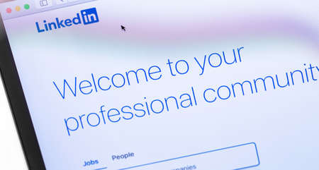 LinkedIn webpage on the screen notebook. LinkedIn is a social network for finding and establishing business contacts. Moscow, Russia - September 24, 2019 Editorial