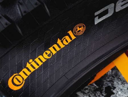 Continental logo on tire closeup. Continental is a German manufacturer of tires and auto components. Moscow, Russia - July 10, 2020 Editorial