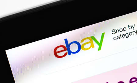 Ebay logo homepage on the display laptop, closeup. eBay is one of the largest online auction and shopping websites. Moscow, Russia - March 23, 2020