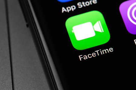 FaceTime icon app on the screen iPhone. FaceTime is the name of a video-audio calling technology that includes the webcam of the same name, developed by Apple. Moscow, Russia - September 15, 2020