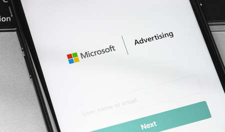 Microsoft Ads (Advertising) app on the screen smartphone closeup. Microsoft Advertising is a service that provides pay-per-click advertising like Bing. Moscow, Russia - August 15, 2020