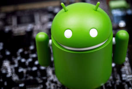 Google Android figure on white background. Google Android is the operating system for smartphones, tablet computers, e-books and other devices. Moscow, Russia - September 20, 2020 Editorial